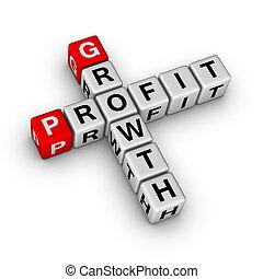 ganancia, crucigrama, crecimiento
