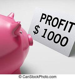 ganancia, dólares, exposiciones, renta, ganancias, cerdito, ahorros