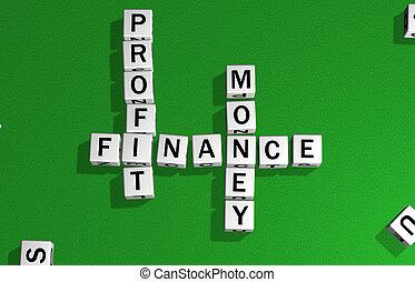 ganancia, dados, finanzas, dinero