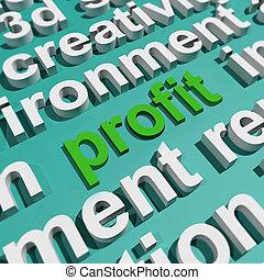 ganancia, en, palabra, nube, exposiciones, provechoso, incomes, y, ganancias