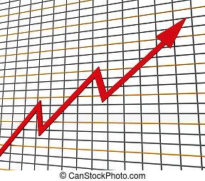 ganancia, gráfico, línea, rojo, exposiciones
