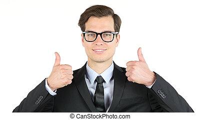 ganancia, moderno, arriba, ganancias, pulgares, ingresos, hombre de negocios, ganancia