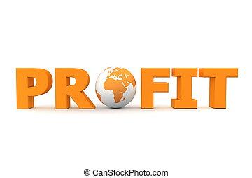 ganancia, mundo, naranja