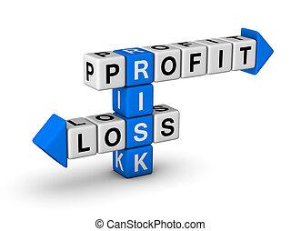 ganancia, pérdida, -, riesgo