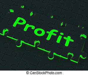 ganancia, rompecabezas, exposiciones, ganancias, y, inversión