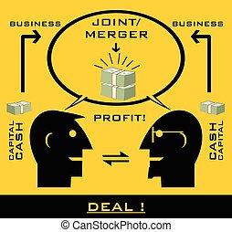 ganancia, socios, scheme., empresa / negocio