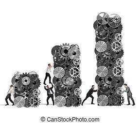 ganancia, trabajo en equipo, corporativo, construye
