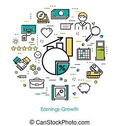 ganancias, crecimiento, -, arte de línea