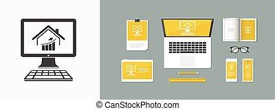 ganancias, en, el, caja, mercado, -, vector, plano, icono