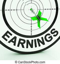 ganancias, exposiciones, dinero, de, empleo, ganancia, ingresos