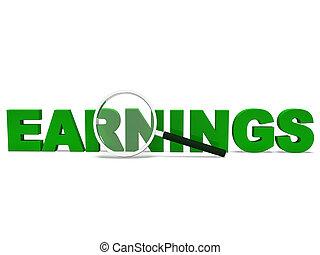 ganancias, palabra, exposiciones, ganancia, rentas, y, provechoso, ingresos
