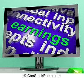 ganancias, pantalla, exposiciones, sueldo, prosperidad, carrera, renta, y, ingresos
