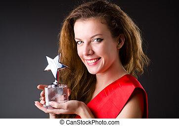 ganando, mujer, concurso de belleza