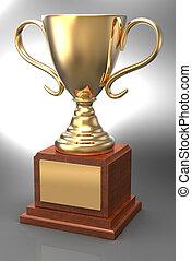 ganando, trofeo de oro, premio, taza, placa