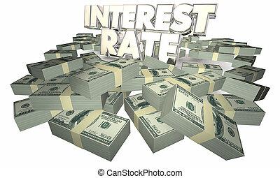 ganar, dinero, pedir prestado, ilustración, ahorros, tasa, interés, 3d