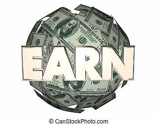 ganar, pelota, carrera, dinero, trabajo, efectivo, esfera, trabajo, ingresos