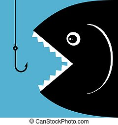 gancho, pez, boca, Golondrina, abierto