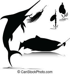 gancho, pez, vector, siluetas