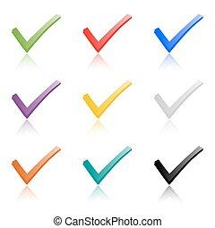 ganchos, sombra, conjunto, coloreado