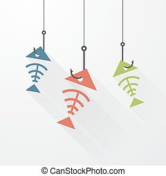 gancio, fish, scheletro, tre