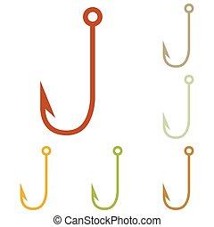 gancio, pesca, illustrazione, segno
