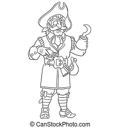 gancio, pirata, mano, pagina, coloritura