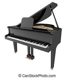 gand, zongora, elszigetelt, háttér, fehér