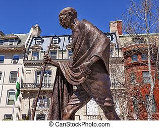 gandhi, washington, indiano, ambasciata, fila, dc, statua