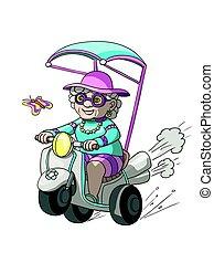 Gandmother riding her bike
