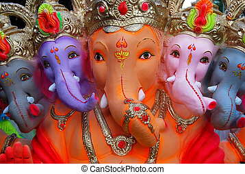ganesh, 神, インド, 象