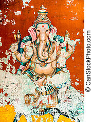 Ganesh ancient fresco (also spelled Ganesa and Ganesh), is...