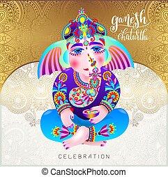 ganesh chaturthi beautiful greeting card or poster