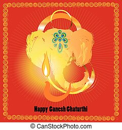 Ganesh Chaturthi - red and gold brignt greeting card. Inspired by legeng of Ganesh, indian god of luck and and prosperity. For Lord Ganesha festival celebrating