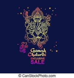 Ganesh Chaturthi sale banner. Hand drawn Vector illustration.