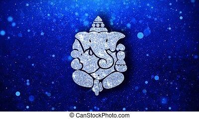 ganesh, diwali, clignotant, élément, particules, fond, ...
