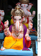 A closeup of Lord Ganesha Idol for sale on the eve of Ganesh festival in India.