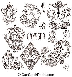 Ganesh in the mehendi style.