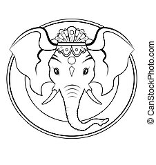 Ganesh logo - BW - Black and white illustration - Logo of...
