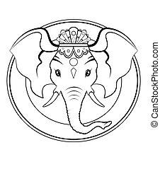 Black and white illustration - Logo of Hindu divinity Ganesh