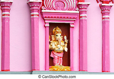 Hindu god Ganesh statue at the temple in India
