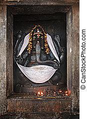 Ganesh statue in Hindu temple. Brihadishwarar Temple, ...