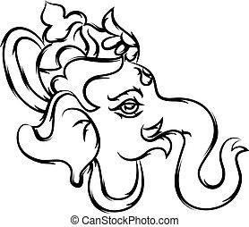 Ganesha Calligraphic Hand Drawn