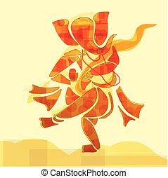 Ganesha or Ganesh Hindu God dance in watercolor painting style. Vector. Eps10.