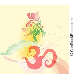 Ganesha dancing in water colors.