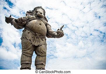 ganesha, dios, y, el, dios, de, éxito, cielo azul, y, nube, plano de fondo