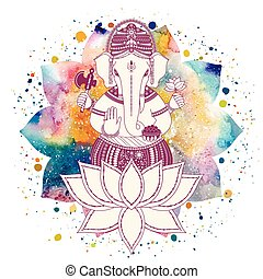 Ganesha, or Ganapati, Indian deity in the Hindu in lotus flower with paint splash and watercolor mandala. Vector illustration for design of prints, web, festive, Chaturthi invitations.