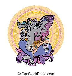 Ganesha Hand drawn illustration.