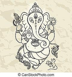 Hindu God Ganesha. Vector hand drawn illustration. Crumped paper background.