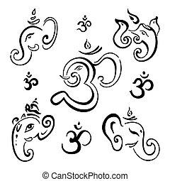 Hindu God Ganesha. Vector hand drawn illustration set.