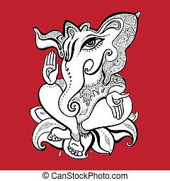 Ganesha Hand drawn illustration.